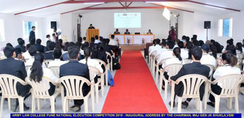 Army Law College, Pune - National Elocution Competition 2019: Inaugural address by the Chairman - Maj Gen JK Shukla, VSM
