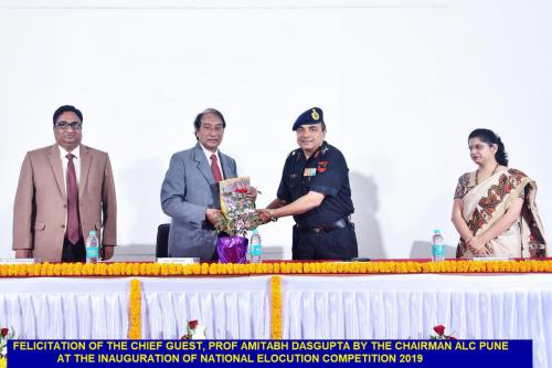 Felicitation of the Chief Guest, Prof. Amitabh Dasgupta by the Chairman ALC Pune at the inauguration of National Elocution Competition 2019