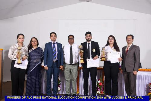 Winners of ALC Pune National Elocution Competition 2019 with  Judges & Principal